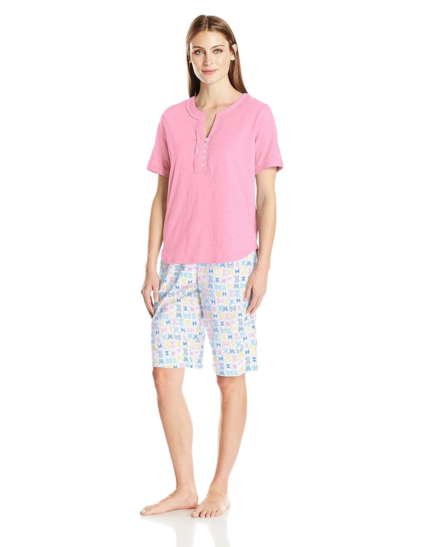 c6174881cb Karen Neuburger Women s Top and Bermuda Pant Bottom Pajama Set Pj at Amazon  Women s Clothing store