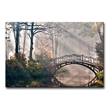Canvas Print Wall Art Painting For Home Decor Tranquil Autumn Forest With River Bridge And Morning