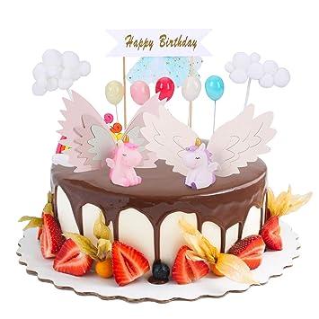 FORMIZON Unicorn Cake Topper, Rainbow Cake Decoration, Kit de Decoración para la Fiesta de la Fiesta de Bienvenida al Bebé Cumpleaños Niña