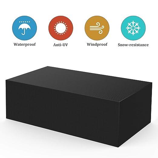 Bellababy Fundas Muebles Jardin, 420D Oxford Funda de Muebles Impermeable Resistente al Desgarro Negro Funda para Mesa 242x162x100cm, Compatible con ...