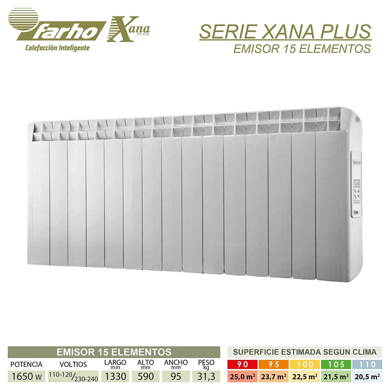 farho Radiador Electrico Bajo Consumo XP (Xana Plus) ··· 1650 Watios · Digital Programable (7 días / 24 HR) y opción WiFi · Emisor Termico Ideal hasta 25 m2 ...