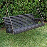 Amish Heavy Duty 800 Lb Roll Back Treated Porch Swing With Hanging Chains (5 Foot, Semi-Solid Black Stain)