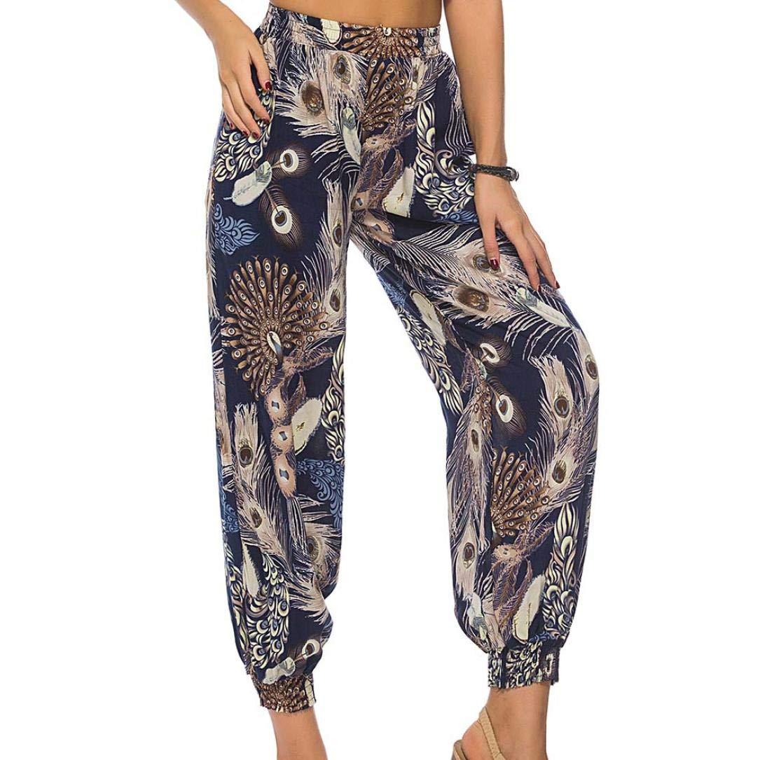 beautyjourney Pantalones Harem para mujeres, Pantalones elásticos de cintura con estampado Pantalones Casual Pantalón largo Leggings holgado Pantalones deportivos Pantalones Yoga