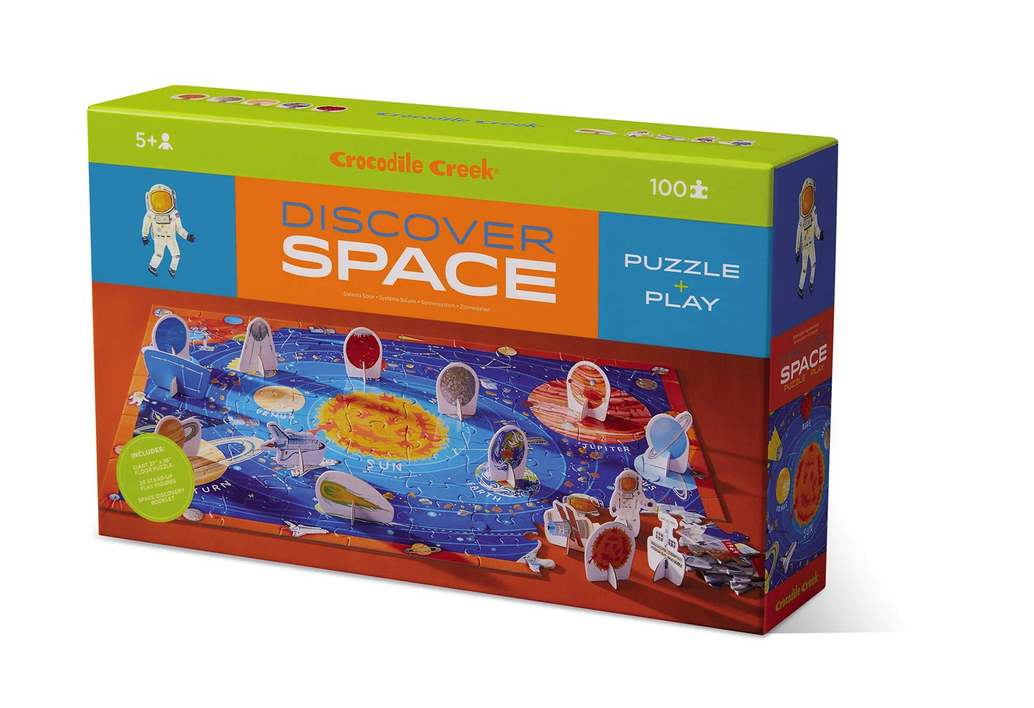 Crocodile Creek 2920-7 Discover Space 100 Piece Educational Puzzle with Fact Book, Blue by Crocodile Creek