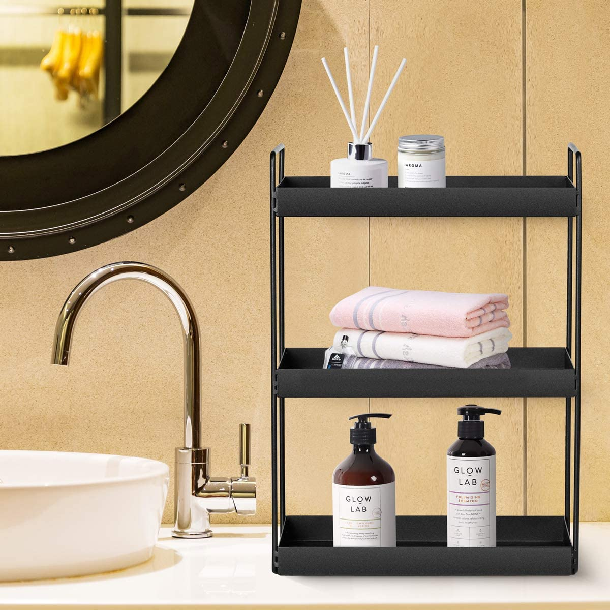 Amazon Com 3 Tier Bathroom Countertop Organizer Vanity Tray Cosmetic Makeup Storage Kitchen Spice Rack Standing Shelf Black Kitchen Dining