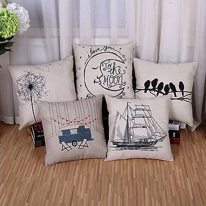 Amazon BPFY 5 Pack Home Decor Sofa Throw Pillow Case Set Of
