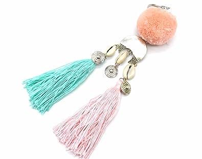 PT1443Lb - Llavero / accesorio para bolso con pompón rosa ...