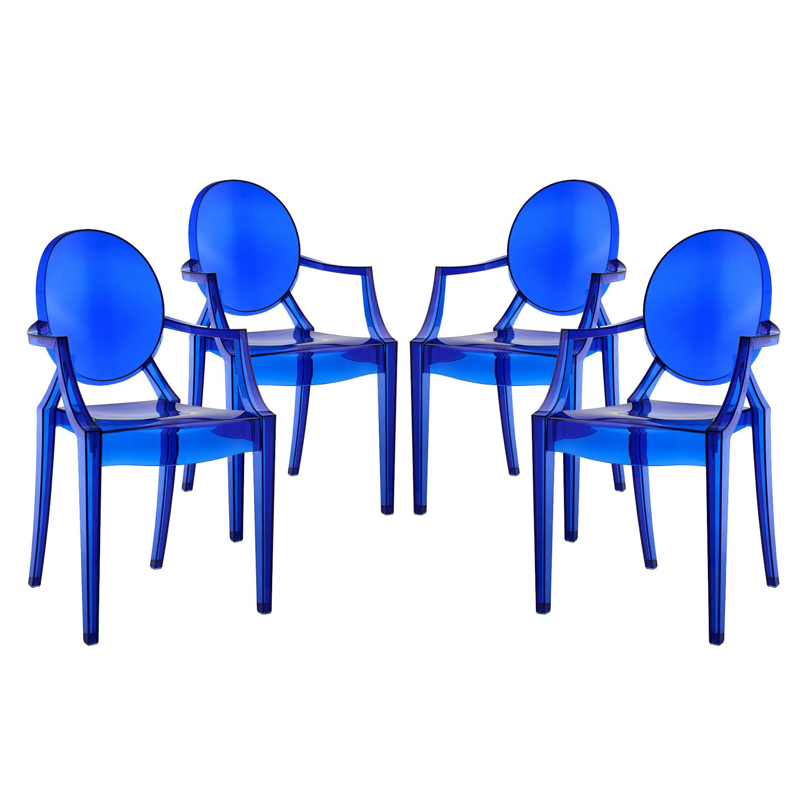 Modway Casper Modern Acrylic Dining Armchairs in Blue - Set of 4 by Modway