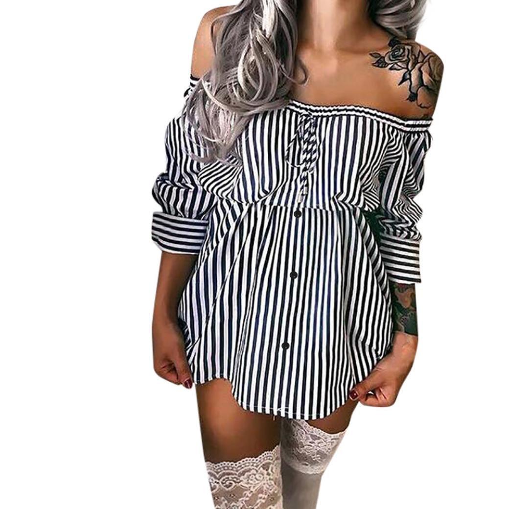 Elecenty Damen Minikleid Schulterfrei Hemdkleid Kleid Sommerkleid Taste Streifen Rock Blusekleid Kleider Frauen Mode Bowknot Langarm Kleidung Abendkleider Rock Partykleid