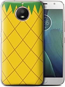 Phone Case for Motorola Moto E4 2017 Fruit Trend Summer Cartoon Cute Pineapple Design Transparent Clear Ultra Slim Thin Hard Back Cover
