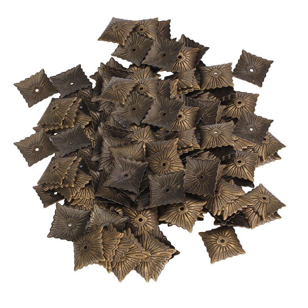 Yibuy 500pcs Iron Bronze Antique Square Upholstery Nails Hardware Tacks Studs
