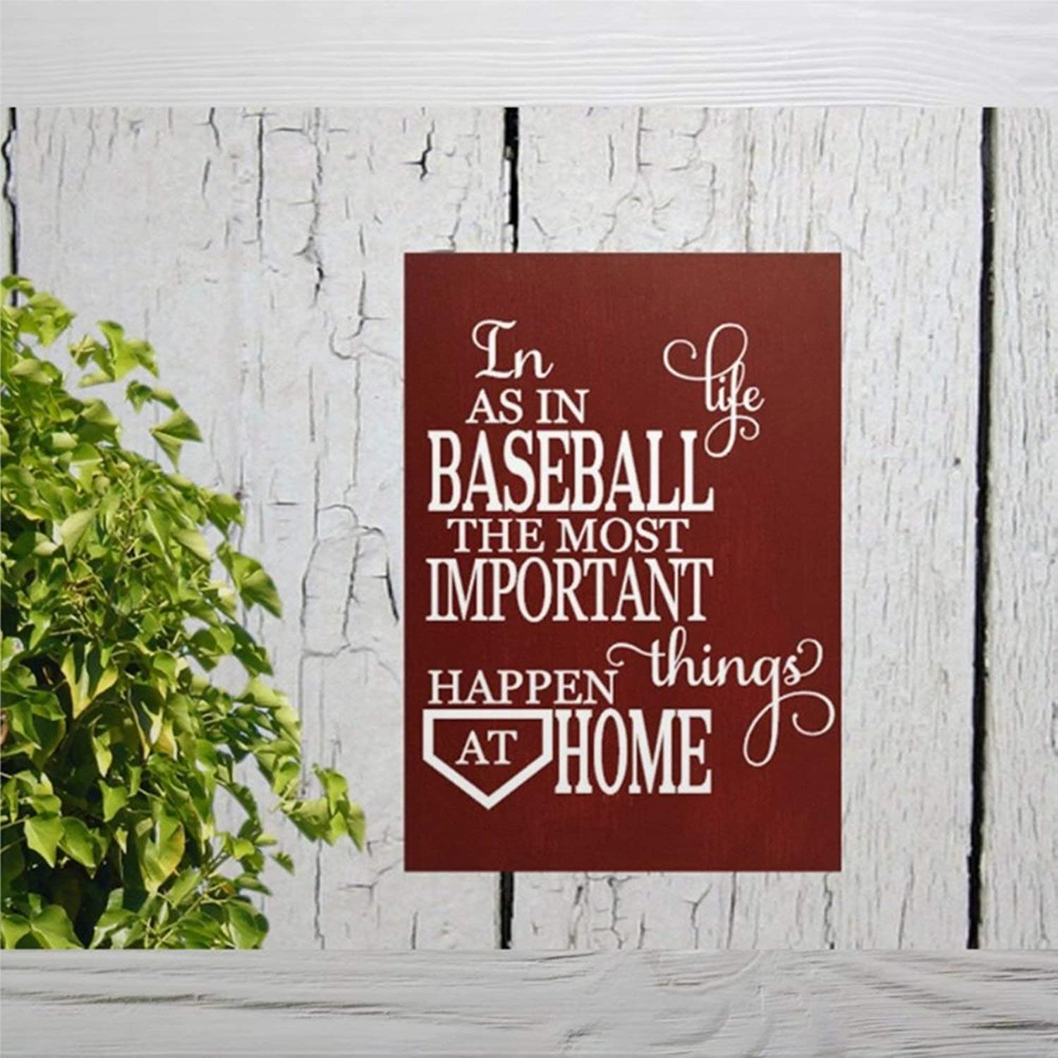 DONL9BAUER Wooden Plaque Sign, Baseball Sign. in Life As in Baseball The Important Things Happen at Home Wood Wall Decor Art, Farmhouse Rustic Mural Wood Pallet Perfect for Home Bar Office