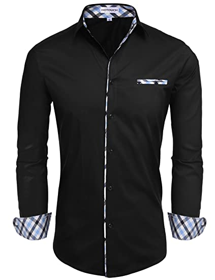 Hotouch Men S Fashion Button Up Shirt Slim Fit Contrast Long Sleeve