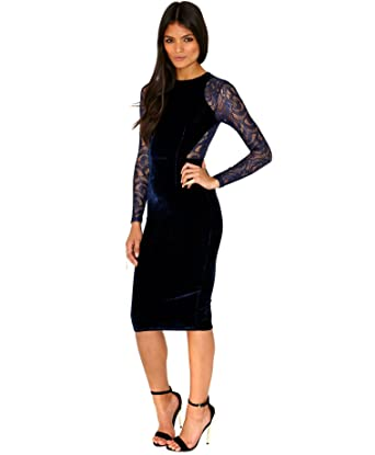 19e52bbcc2 made2envy Velvet Lace Long Sleeve Midi Dress Set with Lace Panties at  Amazon Women s Clothing store