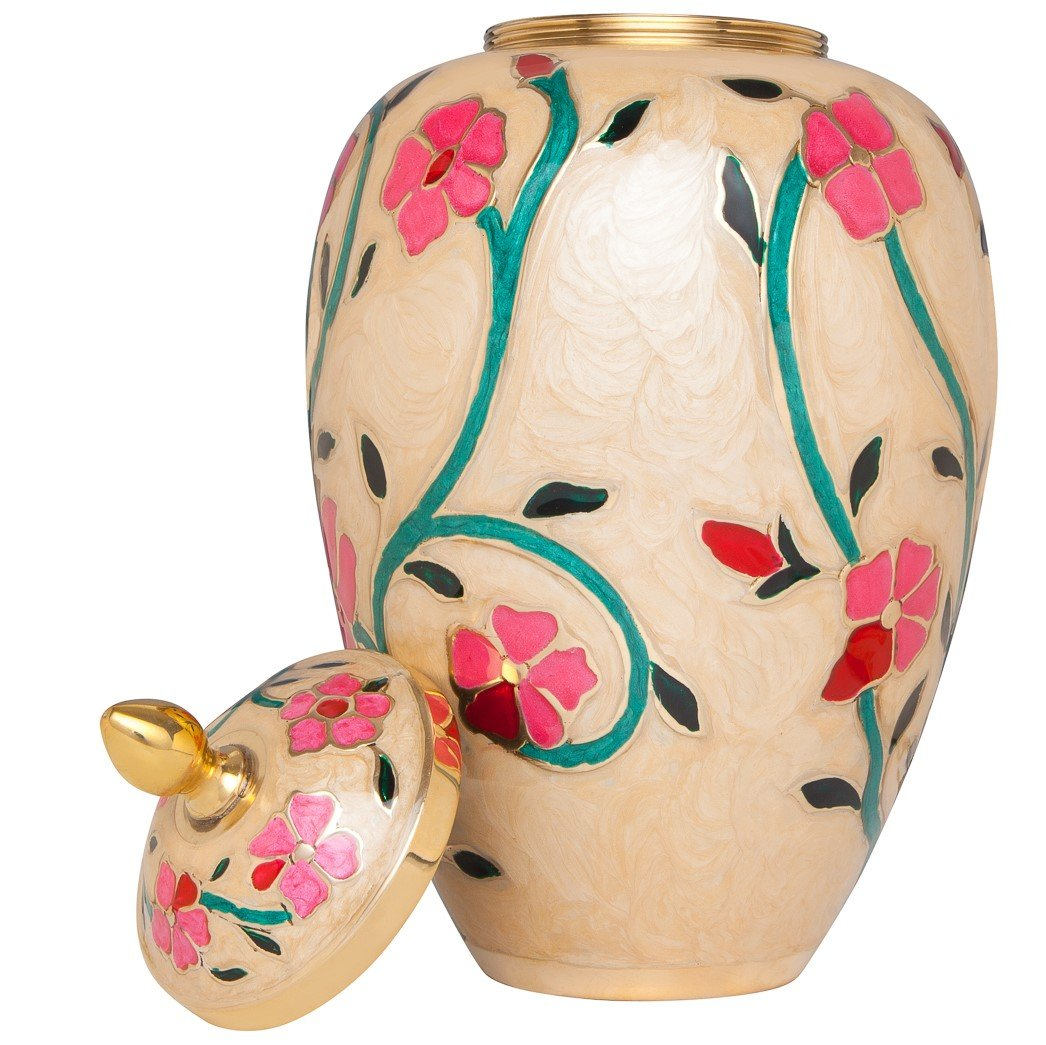 White Cremation Urn with Colorful Flowers – Funeral Urns Human Ashes – Brass Metal – Suitable for Cemetery Burial or Niche – Large Size fits Remains of Adults up to 200 lbs – Fleur