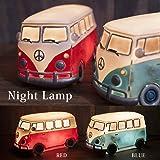 ワーゲンバス (レッド) アメリカン LED ナイトランプ ライト 間接照明 インテリア 雑貨 アメリカン雑貨 ワーゲン バス グッズ (レッド)