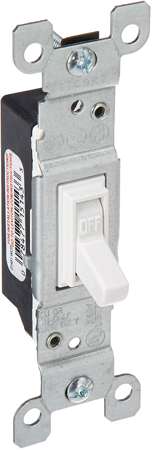 Leviton 1451-2T Framed Grounded Toggle Switch, 120 V, 15 A, 1 P, Count, Light Almond - Wall Light Switches -