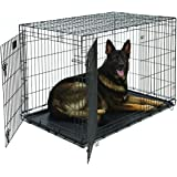 "MidWest Life Stages Heavy-Duty Folding Metal Dog Crates; Single Door & Double Door Dog Crates w/ Divider Panel, Floor Protecting ""Roller"" Feet & Leak-Proof Plastic Pan"