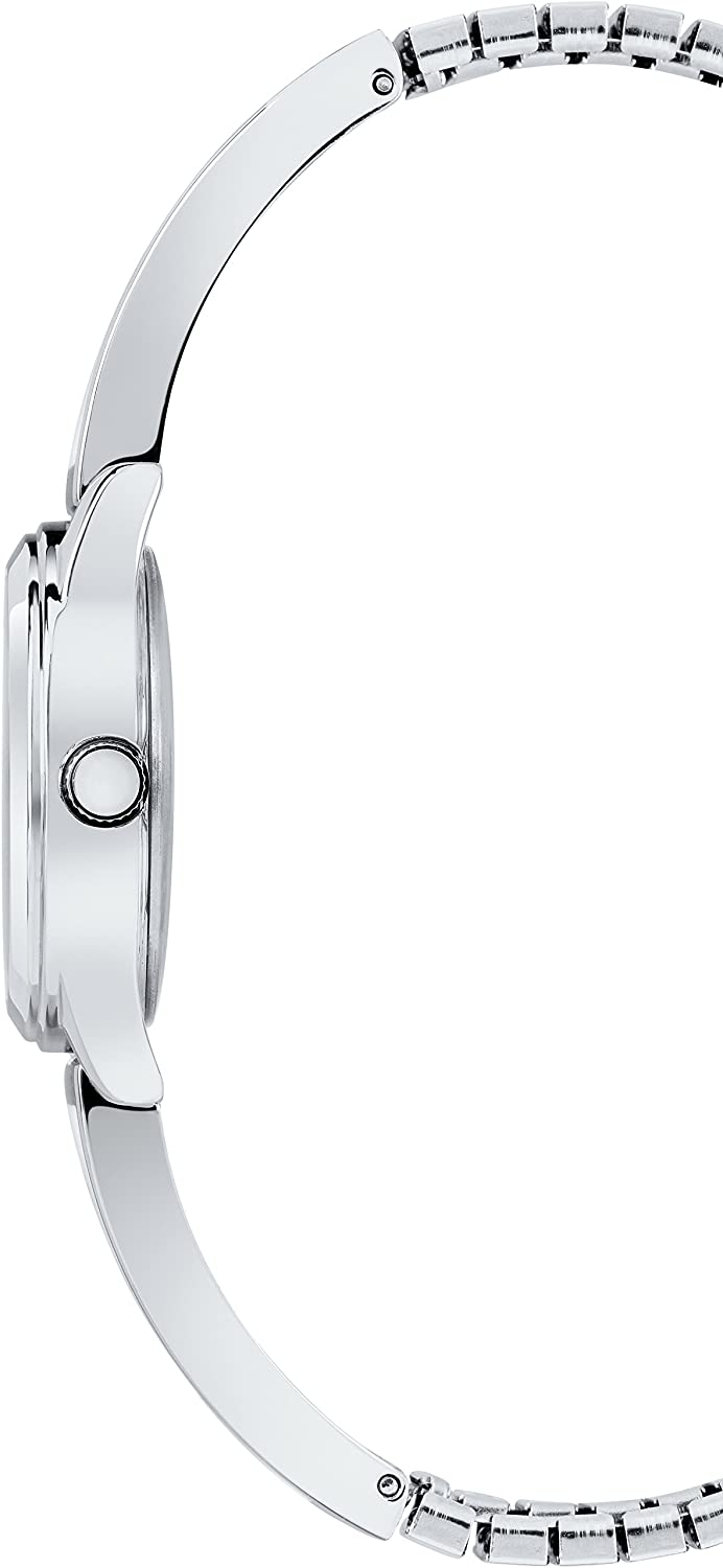 Timex Women's Stretch Bangle 25mm Watch Black/Silver-Tone