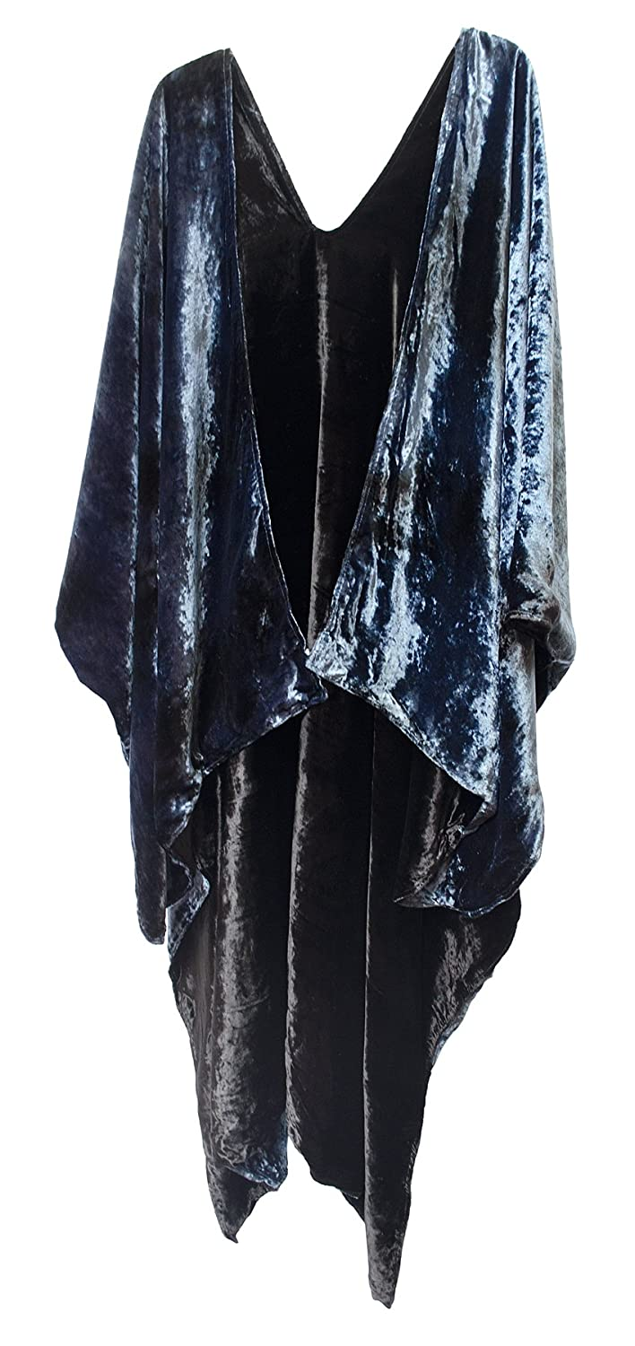 Reversible Velvet Ruana Jacket Cape Robe Wrap Shawl bluee Black