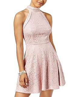 c3f083706fb6 Amazon.com: B Darlin Juniors' Textured Halter Fit & Flare Dress ...