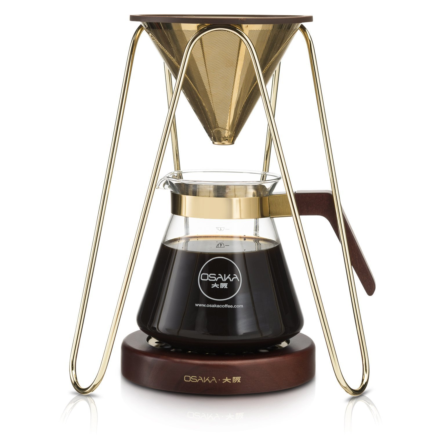 Osaka Tripod Pour-Over Coffee Maker Station with Gold Filter - Full Brewing Station for Pourover Coffee - 20oz. Capacity. ''Kaiyukan-Gold'' by Osaka