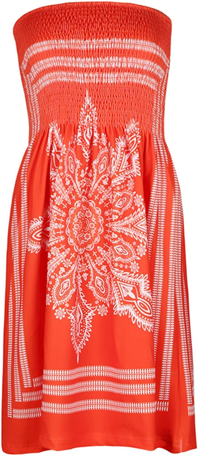 Summer Beach Cover Ups Floral Strapless Floral Casual Dress for Women
