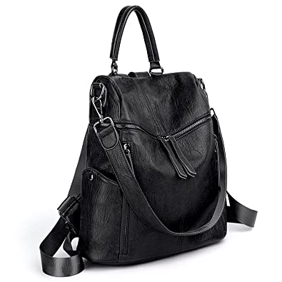 Amazon.com  UTO Women Backpack Purse PU Washed Leather 3 Ways Ladies  Rucksack Zipper Shoulder Bag A Black  Shoes 93daf97c54376