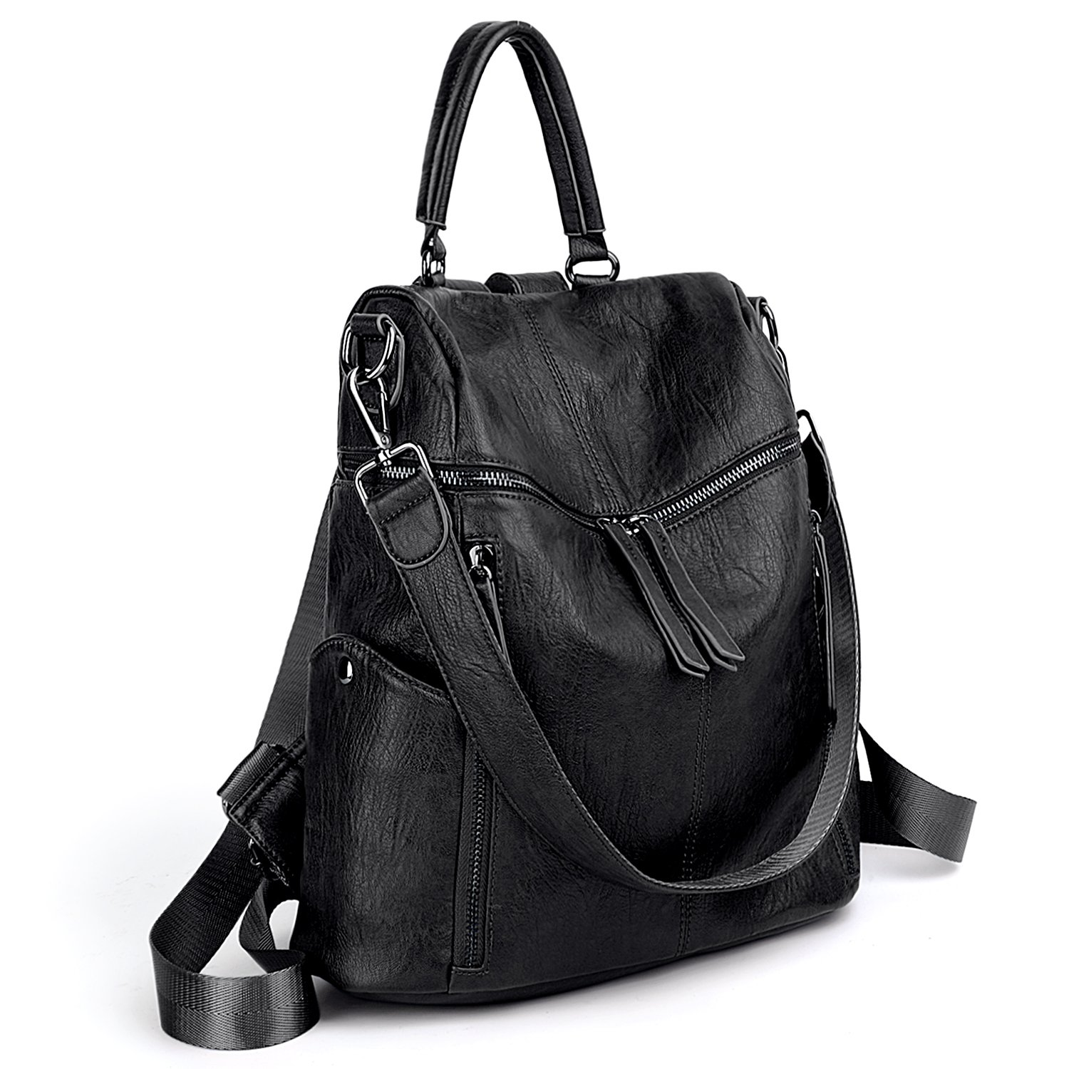UTO Women Backpack Purse PU Washed Leather 3 Ways Ladies Rucksack Zipper Shoulder Bag A Black