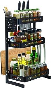 Sorbus 3-Tier Kitchen Spice Rack Utensil Holder, Countertop Freestanding Shelf Organizer for Jars, Bottles, etc, Includes Knife, Cutlery, Chopping Board Storage, plus 3 Hooks, Metal (Black, 3-Tier)