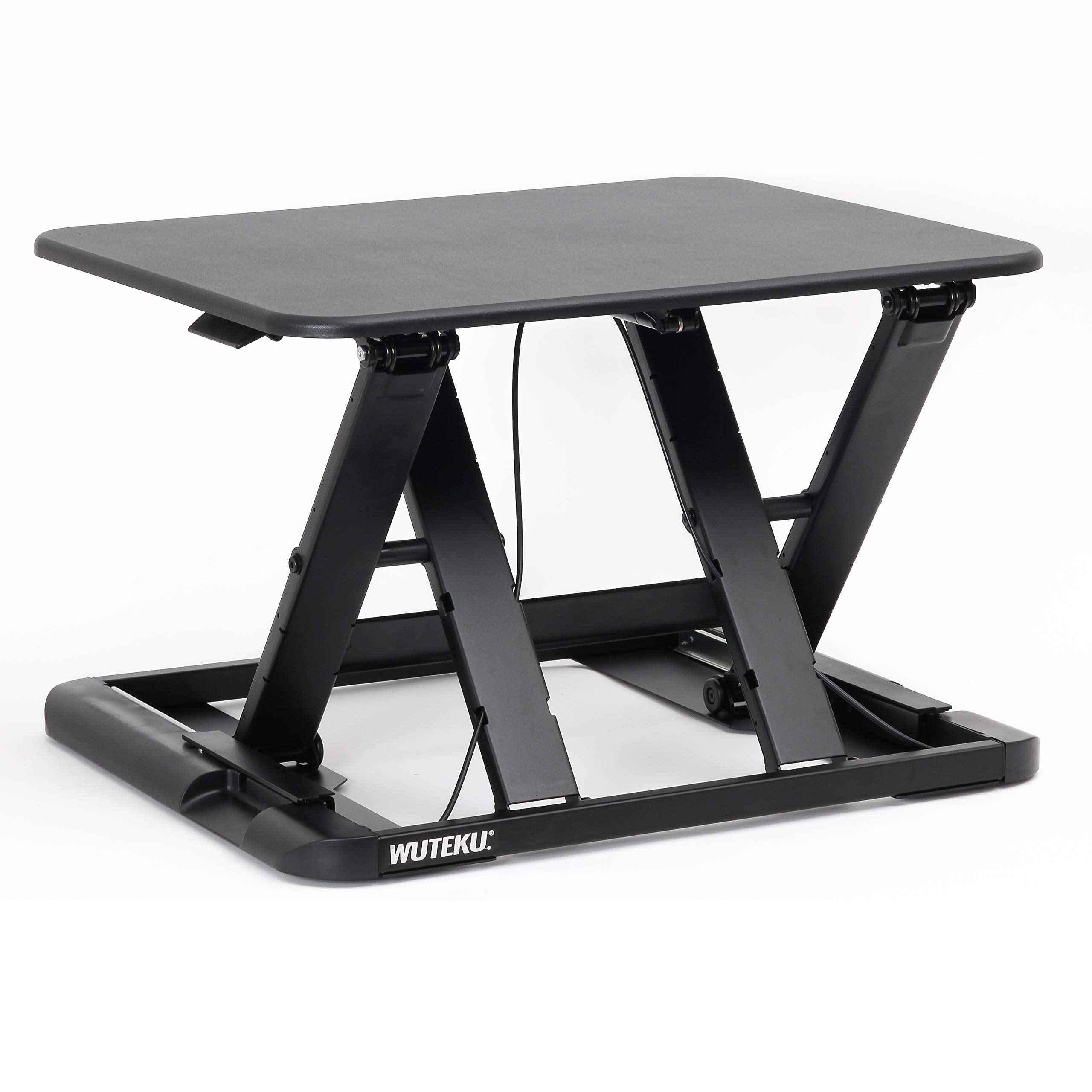 Height Adjustable Stand Up Desk Converter Ergonomic Sit Stand Riser - Flat Top Table Size 22x26 Supports 30lbs - No Assembly Required - Premium Quality and Very Sturdy - Perfect for Laptops or iMacs by WUTEKU