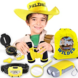 Adventure kits, Kids Explorer Kit for Boys and Girls Gift, Adventure Outdoor Exploration Kit, Kids Camping Gear for Kids Camping 4, 5, 6, 7 years old, Binoculars, Headlamp, Backpack and ALL