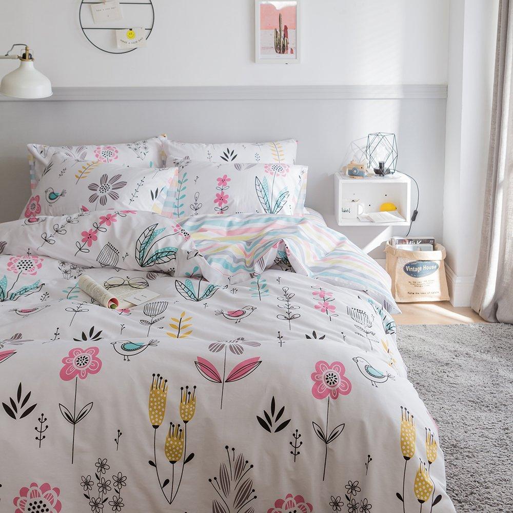 BuLuTu Floral Bird Print Pattern Girls Duvet Covers Queen White Premium Cotton Spring Blossom Colorful Reversible Kids Bedroom Comforter Cover Full Bedding Sets Zipper for Teen Toddler,NO Comforter by BuLuTu (Image #3)