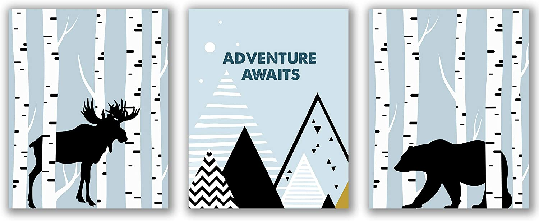 Baby Boy Woodland Nursery Prints - Unframed, Adventure Awaits Print, Bear and Moose Print, Woodland Forest Animals Art, Mountains, Woodland Nursery Decor (Woodland Nursery, 8