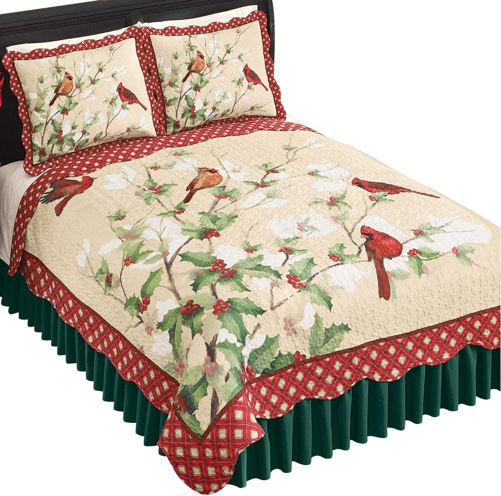 Holly Cardinals Quilt with Red Plaid Scalloped Border on Cream Background - Holiday Bedroom Decor