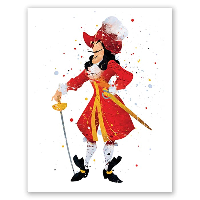 Captain Hook Wall Art Poster – Peter Pan Movie Print – Pirate Nursery Kids Room Wall Decor – Party Decoration – Birthday (8x10)