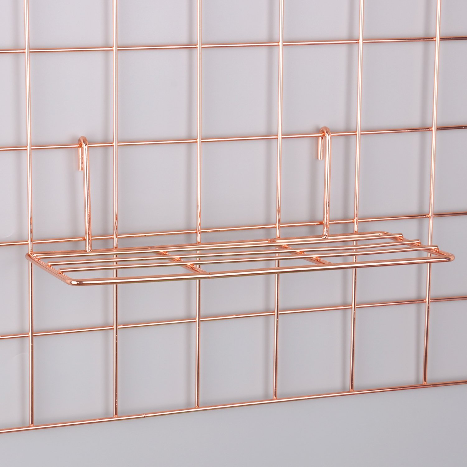 Rose Gold Straight Shelf Rack for Gridwall Grid Panel Wall Mountable Wire Organizer Storage Flower Pot Display Decor 9.8'' x 3.9''