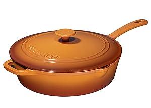 Enameled Cast Iron Skillet Deep Sauté Pan with Lid, 12 Inch, Pumpkin Spice, Superior Heat Retention