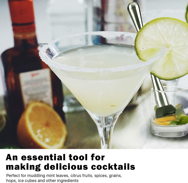 Flexzion Muddler coctelera profesional de acero inoxidable de 9 pulgadas con cabeza de Nylon para barman, bebidas caseras, mojito y receta antigua