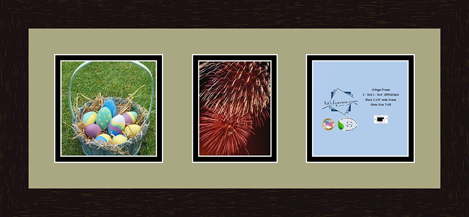 Art to Frames Double-Multimat-204-861//89-FRBW26061 Collage Frame Photo Mat Double Mat with 2-5x5 and 1-4x5 Openings and Espresso Frame