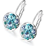 Souarts Women Silver Tone Color Round Hoop Earrings with Blue Rhinestone