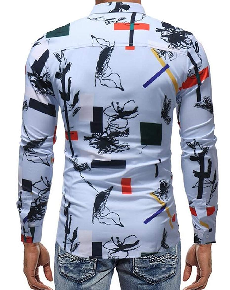 pujingge Mens Lapel Buttons Modern Print Long Sleeves Color Block Dress Shirts