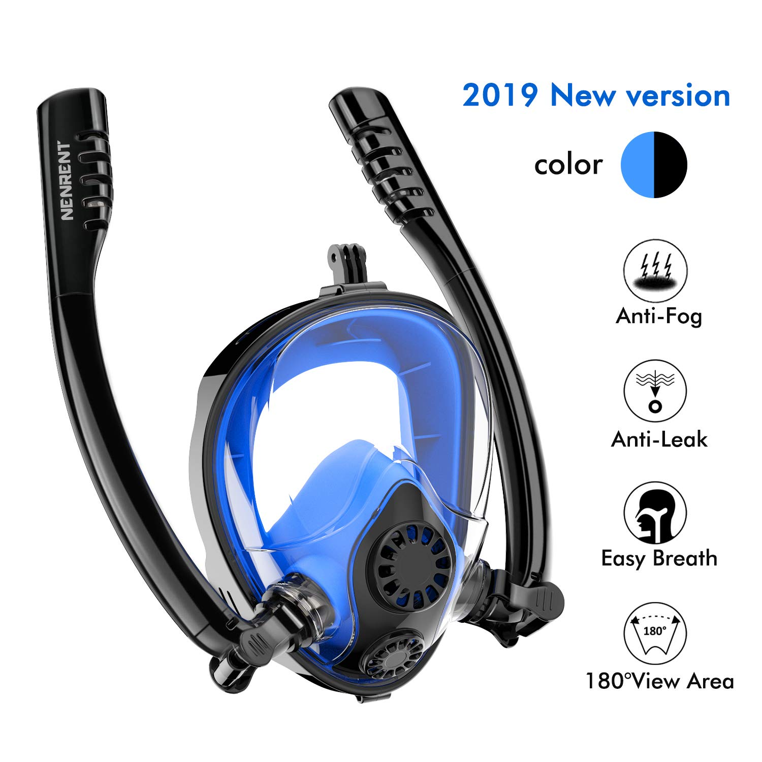 NENRENT Snorkel Mask - Double Snorkel Full Face Snorkeling Mask 180°Panoramic View Scuba Diving Mask with Camera Mount for Adults Easy Breathe, Anti-Fog Anti-Leak Gear for Free Diving Swimming by NENRENT