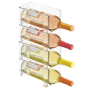 mDesign Plastic Free-Standing Water Bottle and Wine Rack Storage Organizer for Kitchen Countertops, Table Top, Pantry, Fridge - Stackable, Each Rack Holds 1 Bottle, 4 Pack - Clear