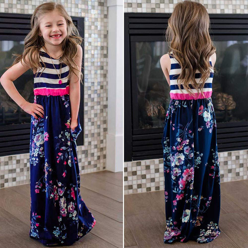 kaiCran Mommy and Me Sleeveless Floral Printed Striped Stitching Dress Family Matching Outfits