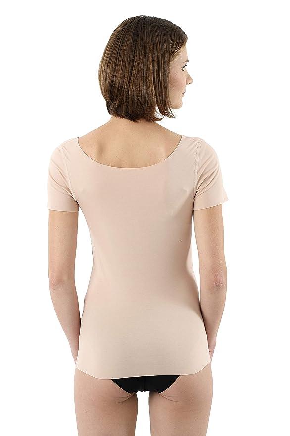 e44db3e0a8f1d3 Albert Kreuz Damen Lasercut nahtlos Clean Cut Unterhemd Kurzarm aus  Baumwolle Elastan unsichtbar - Hautfarbe: Amazon.de: Bekleidung