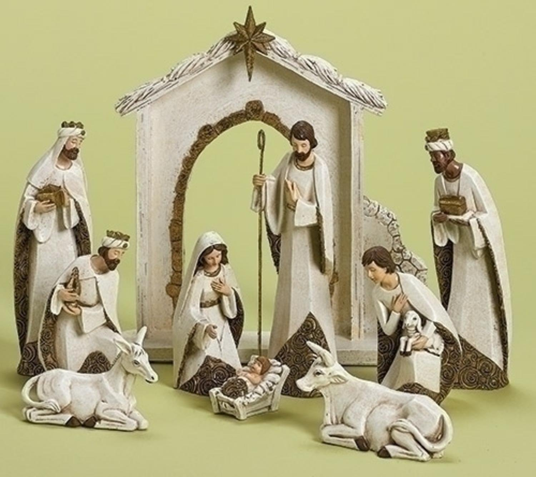 Roman 10-Piece Ivory and Gold Religious Christmas Nativity Figurine Set