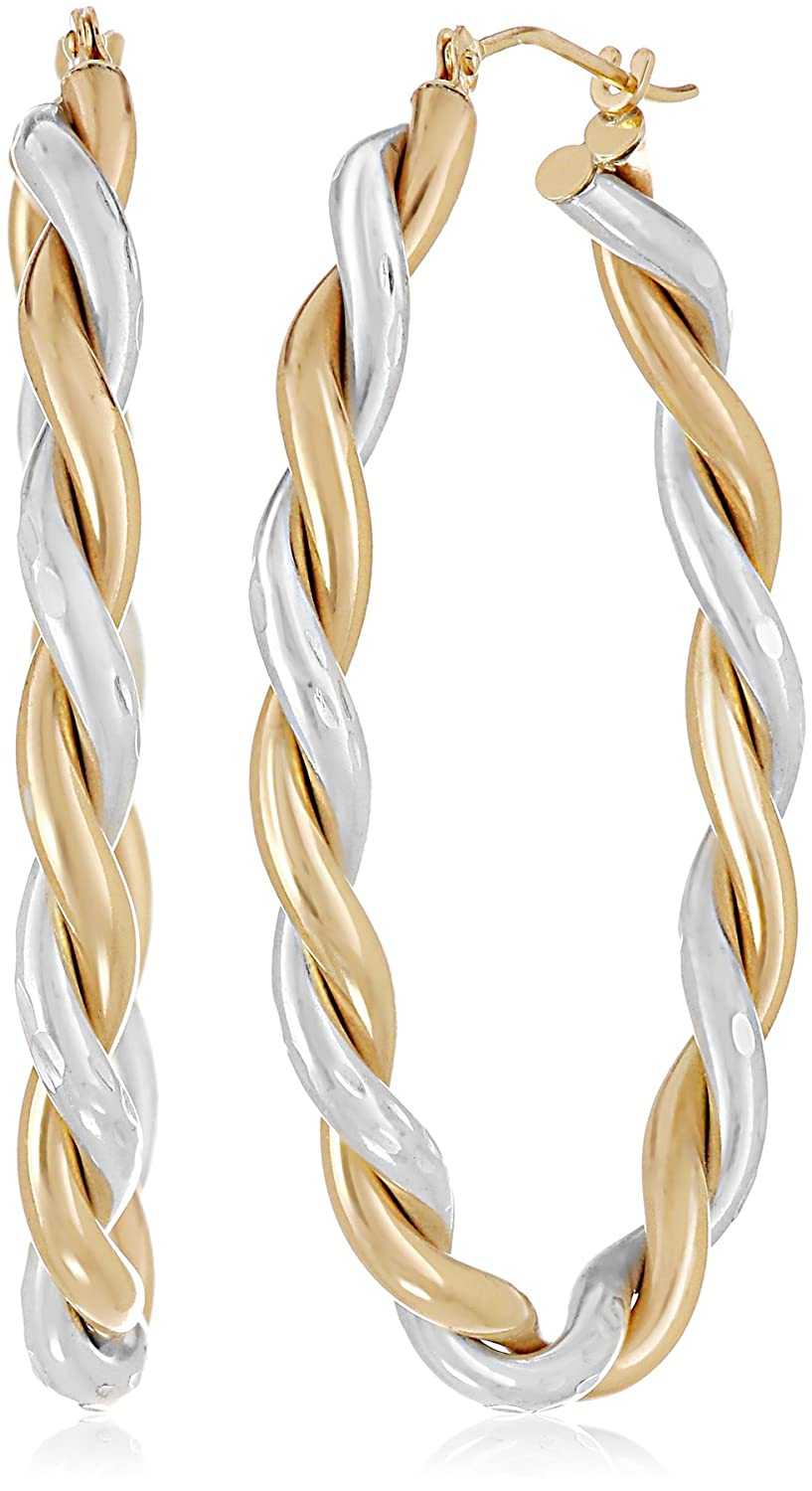 Amazon.com: 14k Yellow Gold-Bonded Sterling Silver Twisted Hoop ...
