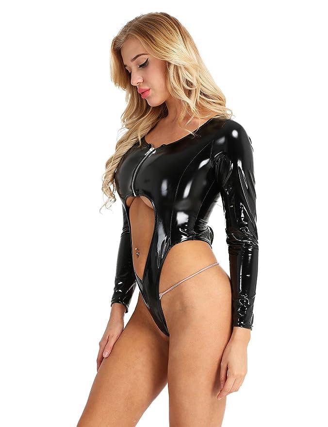 2025966e27 Amazon.com  iEFiEL Women Wet Look Patent Leather Long Sleeve Front Zipper High  Cut Thong Leotard Bodysuit Jumpsuit  Clothing