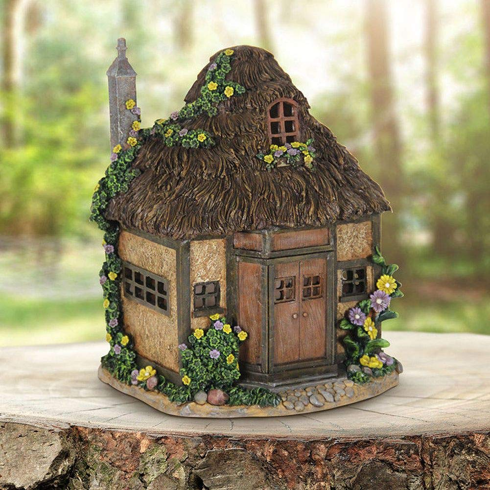 Fairy Garden Mini - Solar Whimsy Thatch Roof Cottage